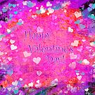 Happy Valentines Day grunge hearts greeting card by Marianne Campolongo