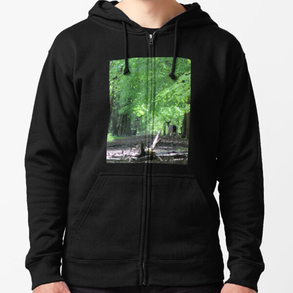 Inquisitive Deer in the Forest Zipped Hoodie