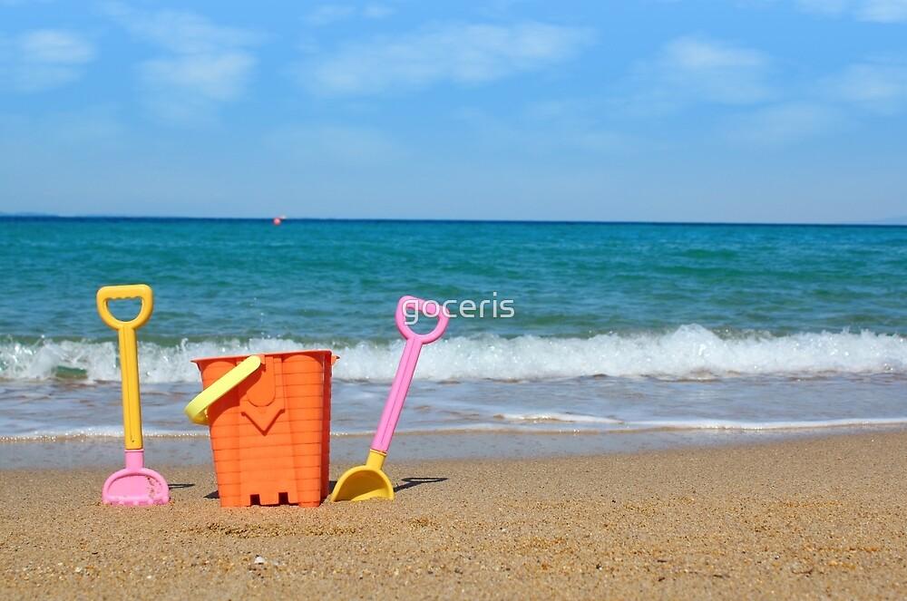 beach with toys summer scene by goceris