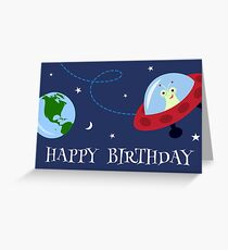 Cute alien i space with planet earth Happy Birthday card Greeting Card