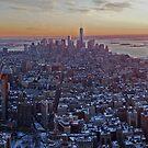 New York sun set snow by Mark Walker