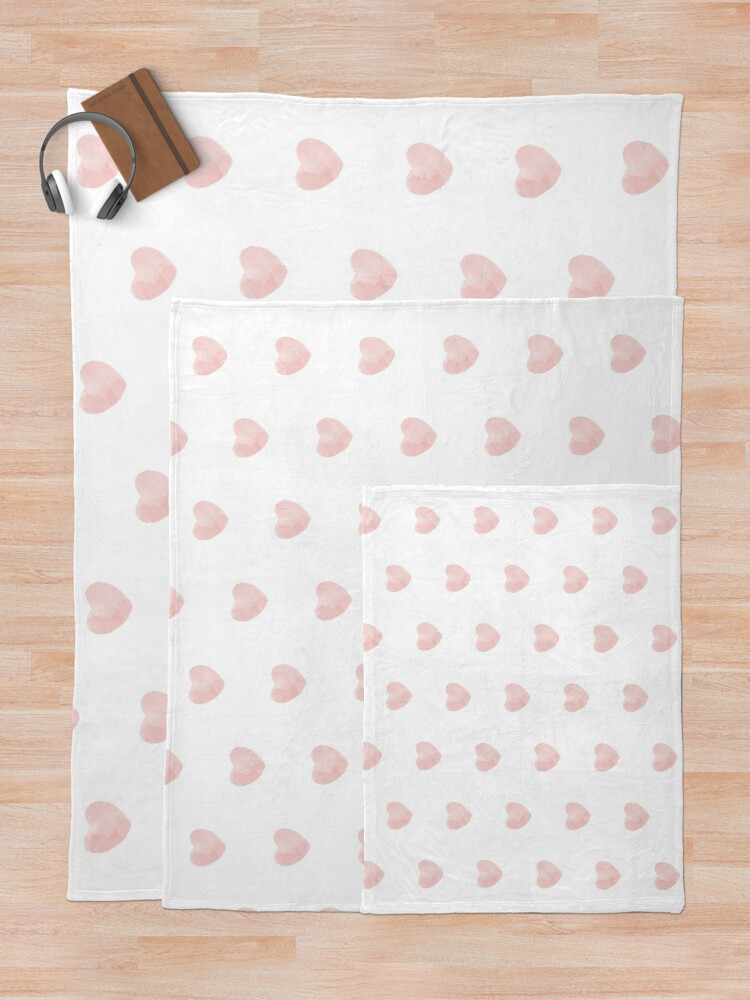 Alternate view of Blush Pink Love Heart Collection Throw Blanket