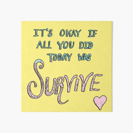 Survive Words Yellow Art Board Print