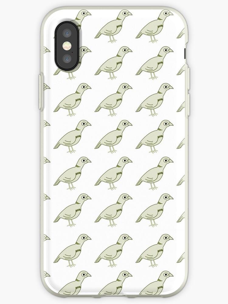 Vintage pastel green white cute birds pattern by Maria Fernandes