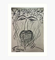 Christ in Distress . Pensive Christ . Chrystus Frasobliwy. by Andrzej Goszcz. Art Print