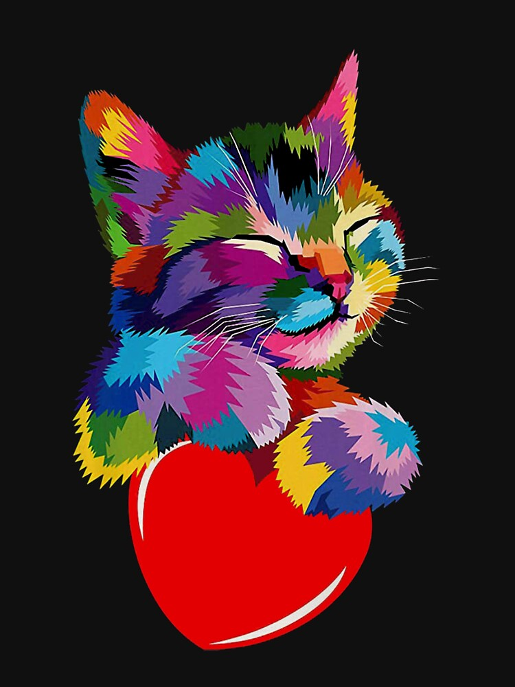 Colorful Cat Hugging Heart by Isabellchas