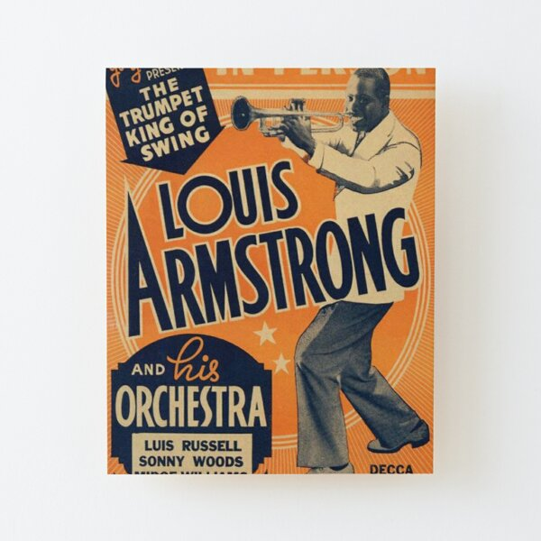 Louis Armstrong Vintage Wood Mounted Print
