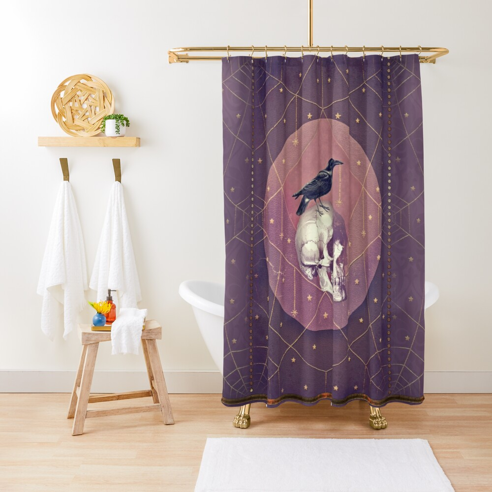 Crow and Skull Collage Shower Curtain