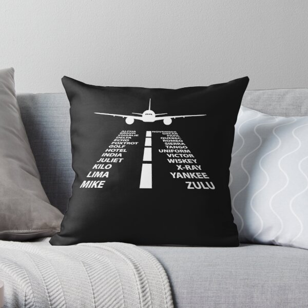 Phonetic Alphabet Pilot Airplane Funny Aviation Gift Throw Pillow