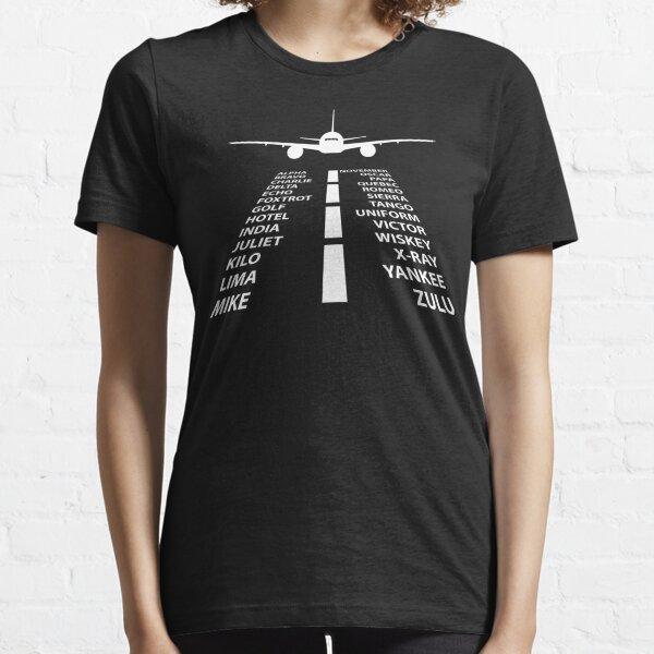 Phonetic Alphabet Pilot Airplane Funny Aviation Gift Essential T-Shirt