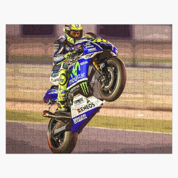 Valentino Rossi making a wheelie 3 Abstract Jigsaw Puzzle