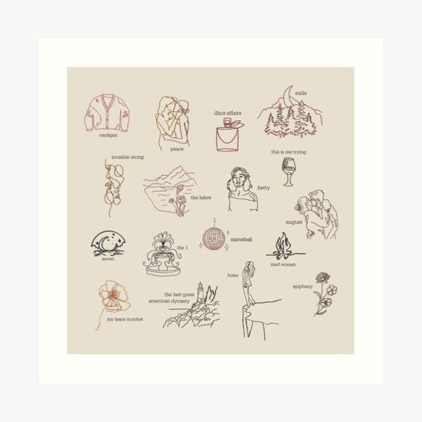 Taylor Swift Folklore-Album-Sammlung (Strichzeichnungen) Kunstdruck