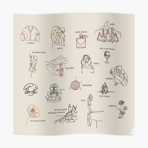Collection d'albums folkloriques Taylor Swift (dessin au trait) Poster