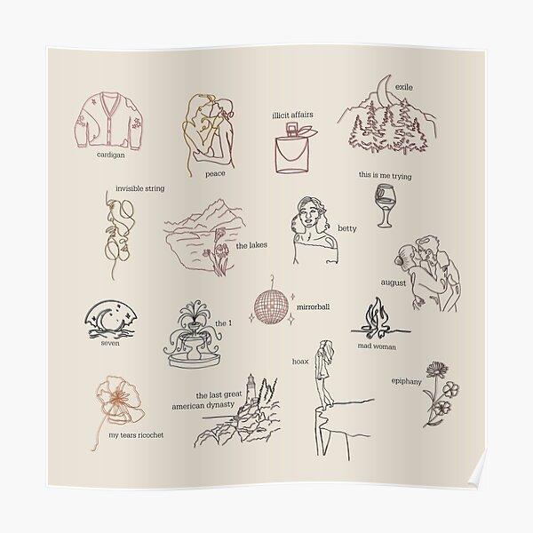 Colección de álbumes de folclore de Taylor Swift (arte lineal) Póster