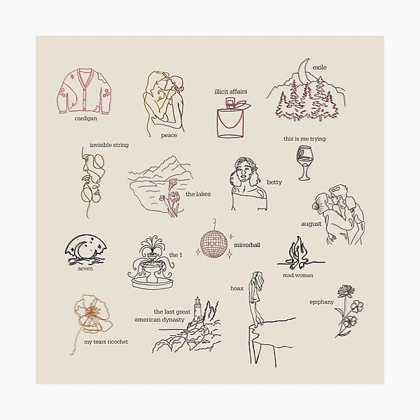 Taylor Swift Folklore Album Collection (Line art) Photographic Print