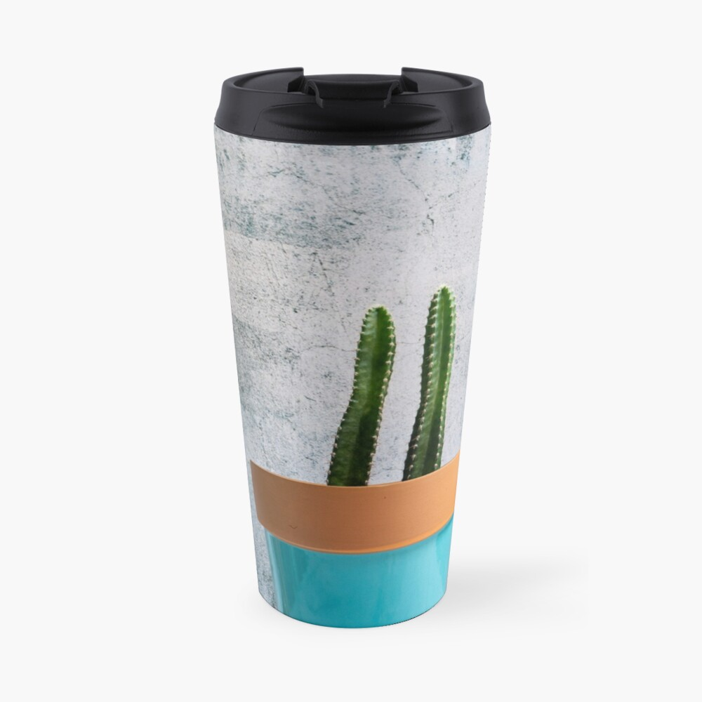 Twin Cacti in Teal Pot Travel Mug
