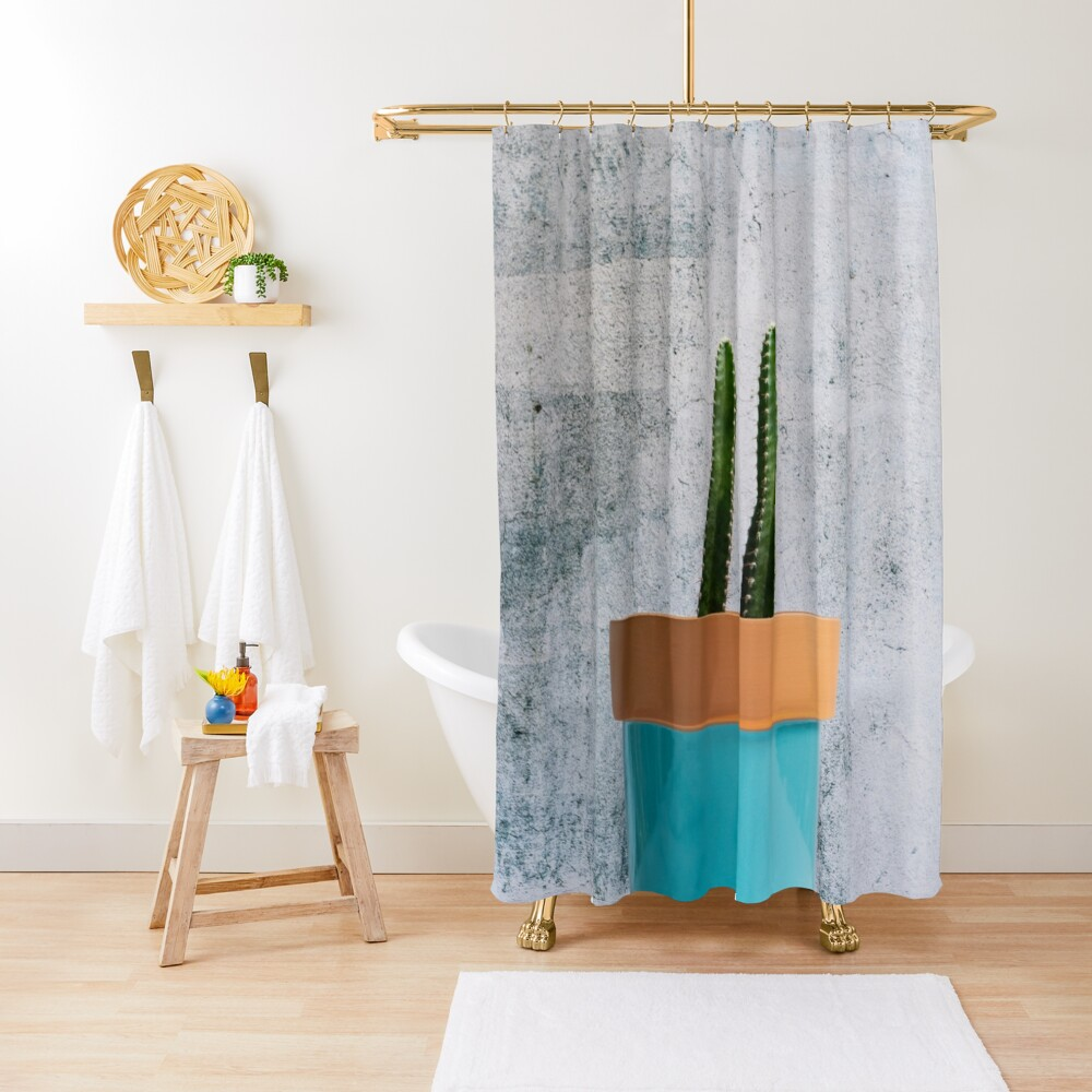Twin Cacti in Teal Pot Shower Curtain