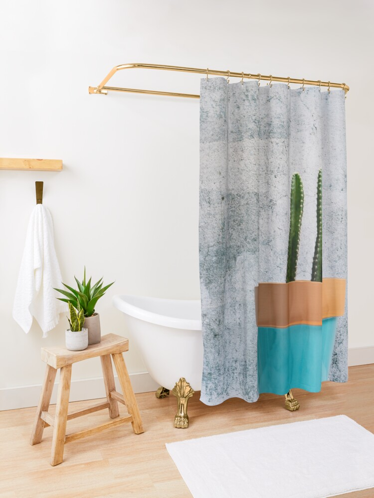 Alternate view of Twin Cacti in Teal Pot Shower Curtain