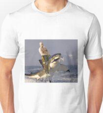 Putin riding a shark (With Background) Unisex T-Shirt
