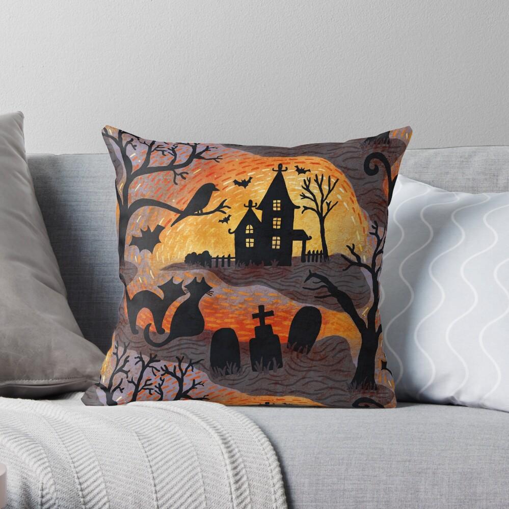 Spooky Haunted Halloween Throw Pillow