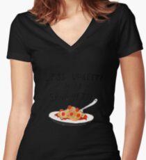 Less Upsetti More Spaghetti Women's Fitted V-Neck T-Shirt