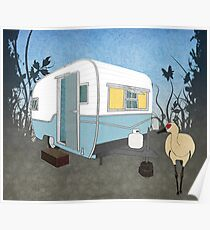 Travel Trailer & Sandhill Crane  Poster