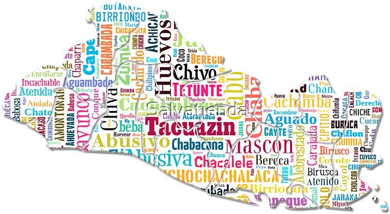 El salvador mapa palabras autoctonas Stickers by Salvatienda