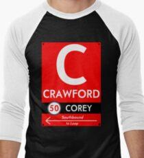 Retro CTA sign Crawford Men's Baseball ¾ T-Shirt