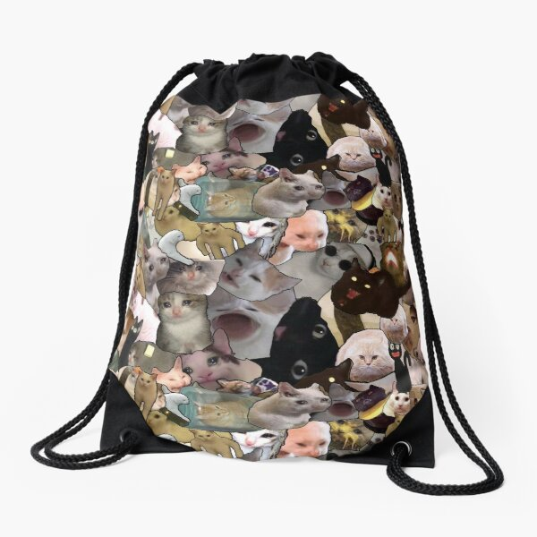 cursed cat print Drawstring Bag