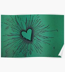 Exploding Heart Green and Gray Poster