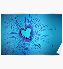 Blue and Purple Exploding Heart Poster