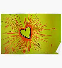 Yellow and Red Exploding Heart Poster