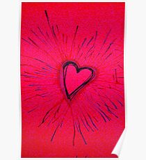 Hot Pink and Red Exploding Heart Poster