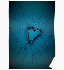 Deep Blue Exploding Heart Poster