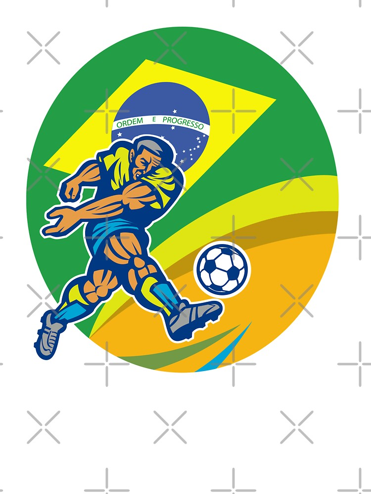Brazil Soccer Football Player Kicking Ball Retro by patrimonio