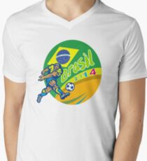 Brasil 2014 Football Player Kicking Retro Mens V-Neck T-Shirt