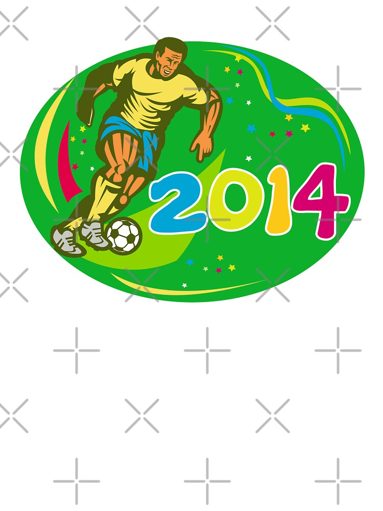 Brasil 2014 Soccer Football Player Run Retro by patrimonio