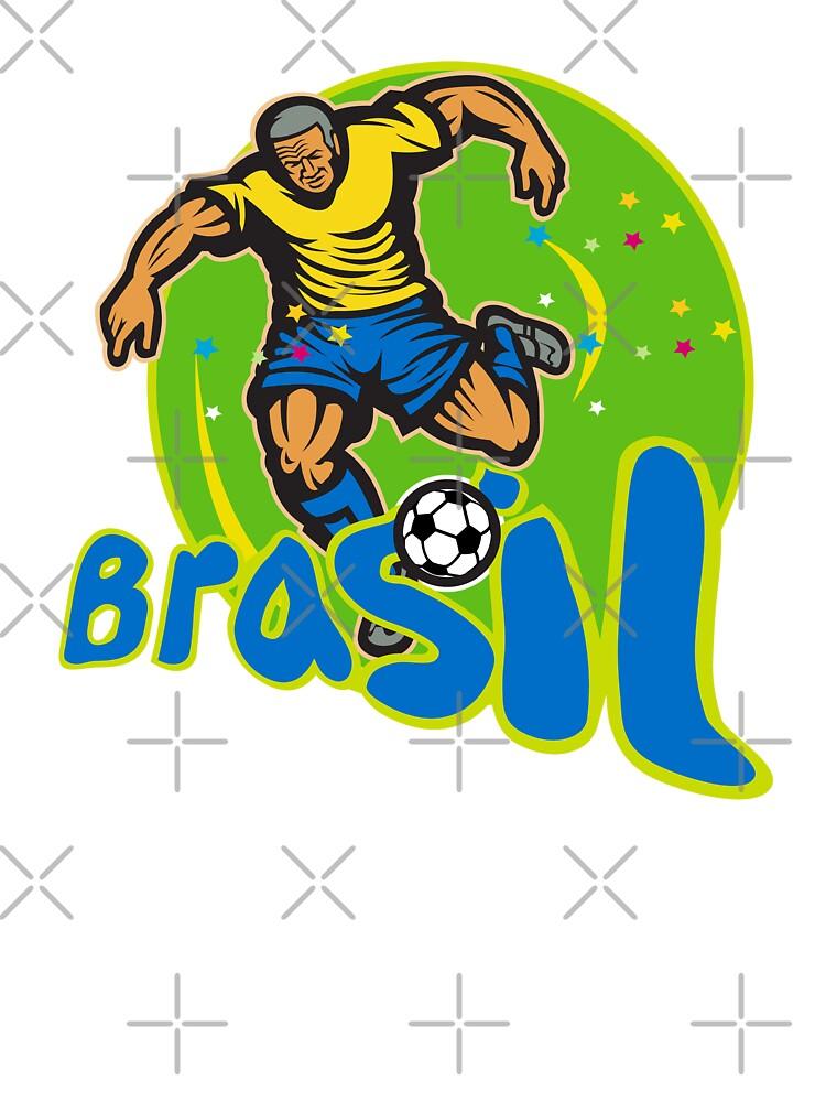 Brazil Football Player Kicking Ball Retro by patrimonio