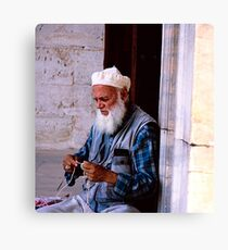 Blue Mosque Knitting Canvas Print