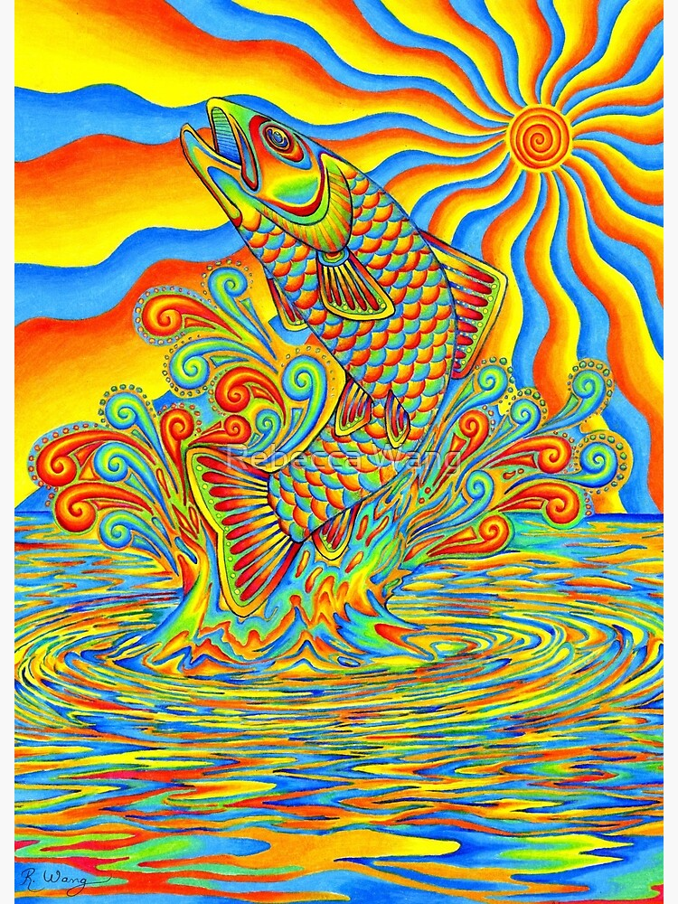 Psychedelic Rainbow Trout Fish by lioncrusher