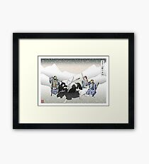 Jon Snow Duels Qhorin Halfhand as Wildlings Look On Framed Print