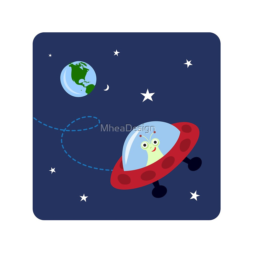 Cute alien in space with planet earth and stars, wall art for children by MheaDesign