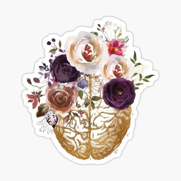 Anatomía del cerebro vintage con flores Pegatina brillante