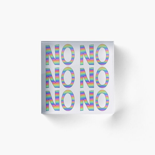 NO slogan - pastel rainbow Acrylic Block