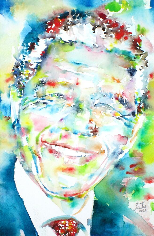 NELSON MANDELA - watercolor portrait by lautir