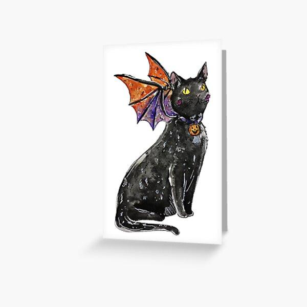 Halloween Dragon Cat Greeting Card