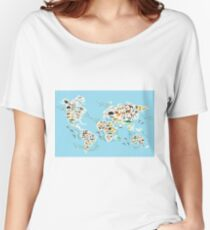 animal world map  Women's Relaxed Fit T-Shirt