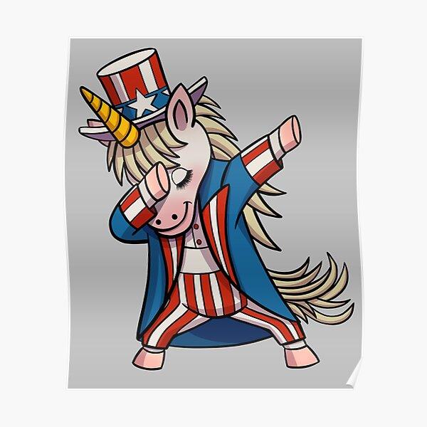 Dabbing Uncle Sam Unicorn Patriotic Gift Poster