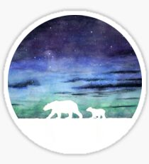 Aurora borealis and polar bears (light version) Sticker