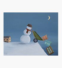 Snowman Survival Stragtegies Photographic Print